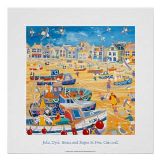 Art Poster: Boats and Ropes, St Ives, Cornwall