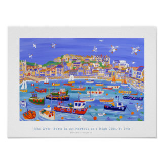 Art Poster: Boats in the Harbour, St Ives,Cornwall