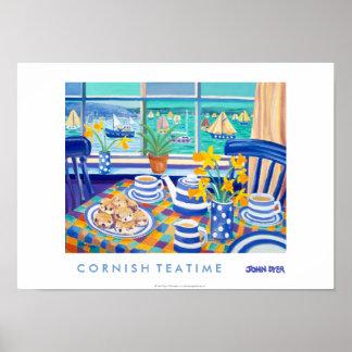 Art Poster: Cornish Tea Time. ( Cornish Blue ) Poster