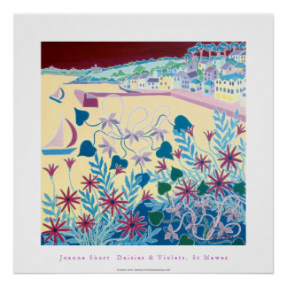 Art Poster: Daisies & Violets, St Mawes, Cornwall Poster