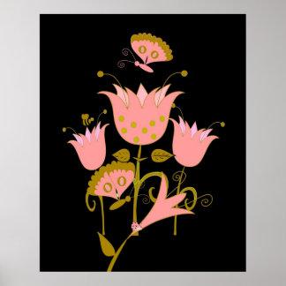 Art Poster Pink Forrest Flowers