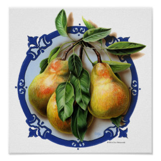 Art Poster / Print - Delicious Nature Pears