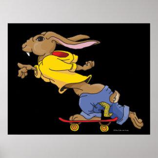 Art Poster / Print - Skateboarding Rabbit