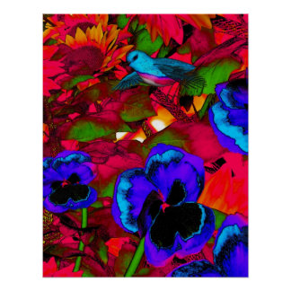 Art Poster Red Blue Flowers And Blue Bird