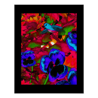 Art Poster Red Blue Flowers And Blue Bird 2