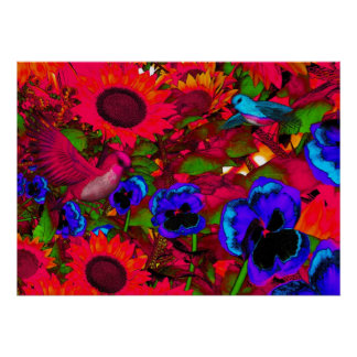 Art Poster Red Flowers And Birds