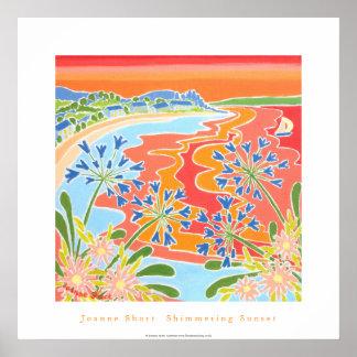 Art Poster: Shimmering Sunset, Tresco, Cornwall Poster