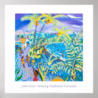 Art Poster: Swaying Caribbean Coconuts