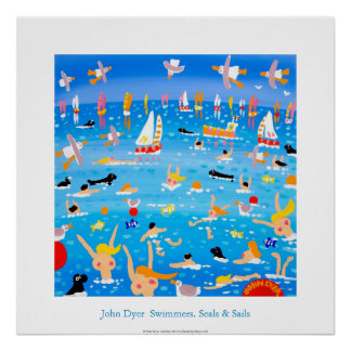Art Poster: Swimmers, Seals and Sails. Poster