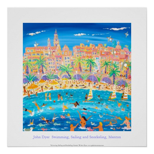 Art Poster: Swimming, Sailing & Snorkeling, Menton Poster