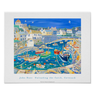 Art Poster: Unloading the Catch,Coverack, Cornwall Poster