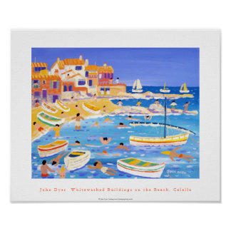 Art Poster: Whitewashed Buildings, Calella, Spain Poster