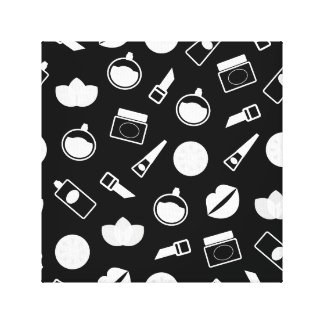 Art poster with wellness icons : black white canvas print