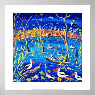 Art Print: Banrock Station Pelicans, Gums, Moon Poster