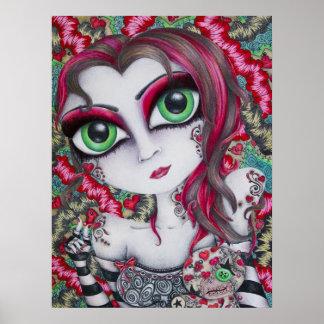 ART PRINT big eye art pin-cushion doll