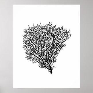 Art print, black coral fan on white poster