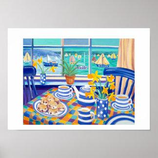 Art Print: Cornish Tea Time. ( Cornish Blue ) Poster