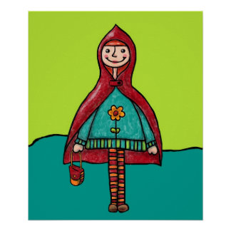 Art Print, Cute Little Red Riding Hood Drawing Poster