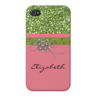 Art Print Pink Lime Glitter Deco Jewelry Element iPhone 4 Case