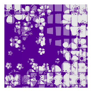 Art purple and white floral pattern poster