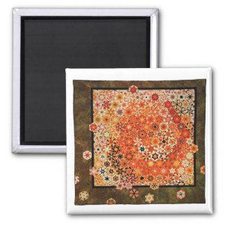 "Art Quilt Magnet - ""Dragon"" 2 Inch Square Magnet"