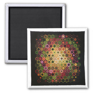 """Art Quilt Magnet - """"Galactic"""" 2 Inch Square Magnet"""