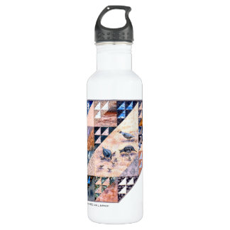 - art quilt Quail Covey Water Bottle