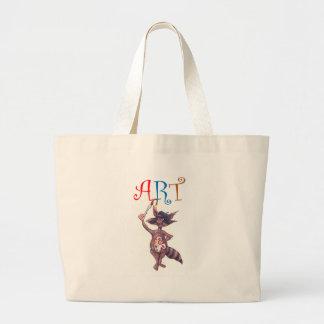Art Raccoon Large Tote Bag