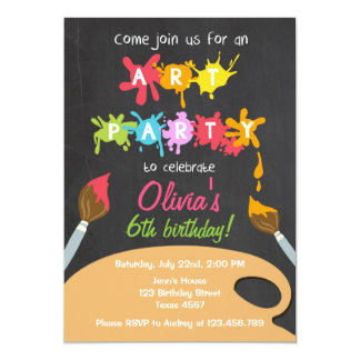 Art Rainbow Birthday Party Invitation