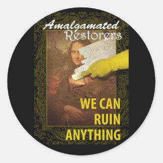 Art Restoration Humor Classic Round Sticker