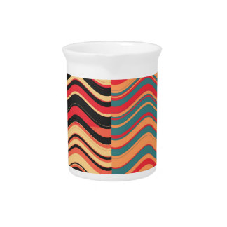 Art Retro Colorful Wave Abstract 2 Beverage Pitchers