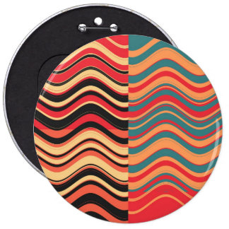 Art Retro Colorful Wave Abstract Button