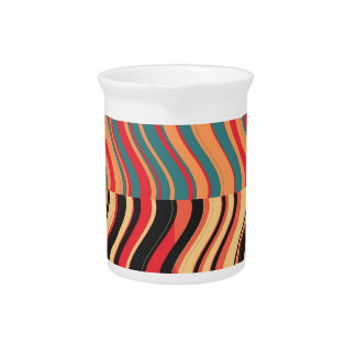 Art Retro Colorful Wave Abstract Drink Pitcher