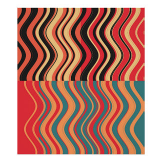 Art Retro Colorful Wave Abstract Poster