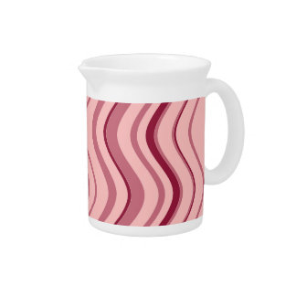 Art Retro Pink Wave Abstract Beverage Pitcher