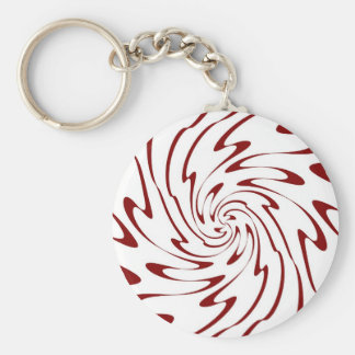 Art Retro Red and White Swirl Waves Abstract Key Chain