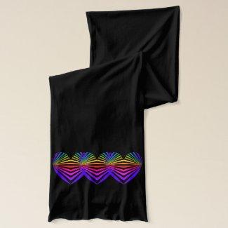 Art Scarf Rainbow Heart Valentine Colorblock Black