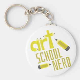 Art School Nerd Basic Round Button Keychain