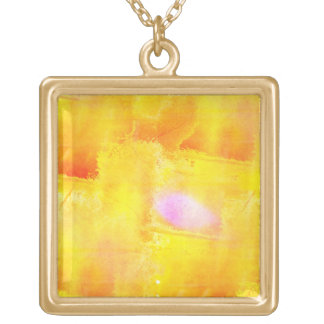 art seamless color yellow background watercolor square pendant necklace
