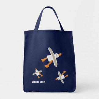 Art Shopper Beach Bag: John Dyer Seagulls. Blue Tote Bag
