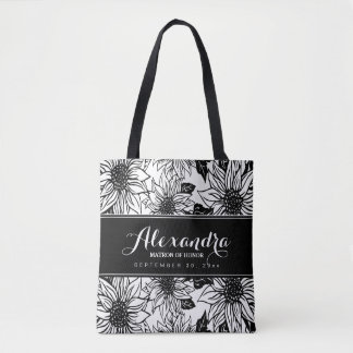 Art Sketch Sunflowers Wedding Party Tote (black)