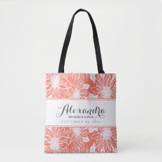 Art Sketch Sunflowers Wedding Party Tote (coral)