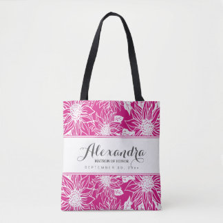 Art Sketch Sunflowers Wedding Party Tote (fuchsia)
