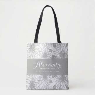 Art Sketch Sunflowers Wedding Party Tote (grey)