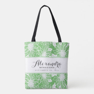 Art Sketch Sunflowers Wedding Party Tote (lime)
