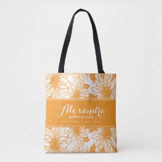Art Sketch Sunflowers Wedding Party Tote (orange)