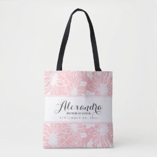 Art Sketch Sunflowers Wedding Party Tote (pink)