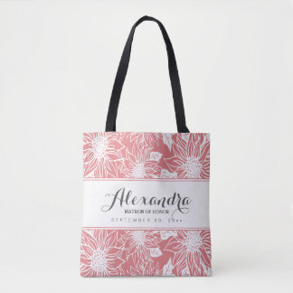 Art Sketch Sunflowers Wedding Party Tote (rose)