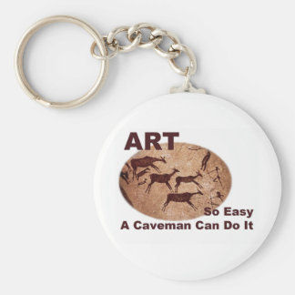 Art- So Easy A Caveman Can Do It Basic Round Button Keychain