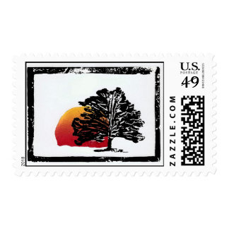 Art Stamp Tree with Moon